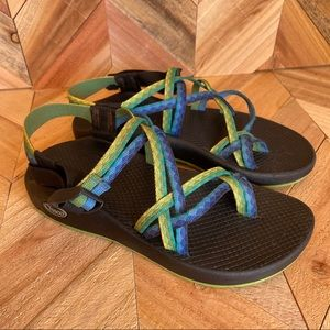 Chaco Blue and Lime green Sandals Size 8
